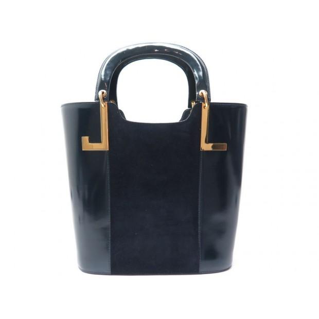 415edd0841 sac a main lanvin en cuir et daim bleu marine