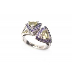 BAGUE MAUBOUSSIN SUBTILE DUALITE T 53 AMETHYSTE OR BLANC 18K DIAMANTS RING 1790€