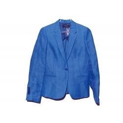 NEUF VESTE PAUL SMITH 1 BOUTON 40 M EN LIN & POLYAMIDE BLEU BLUE JACKET 470€
