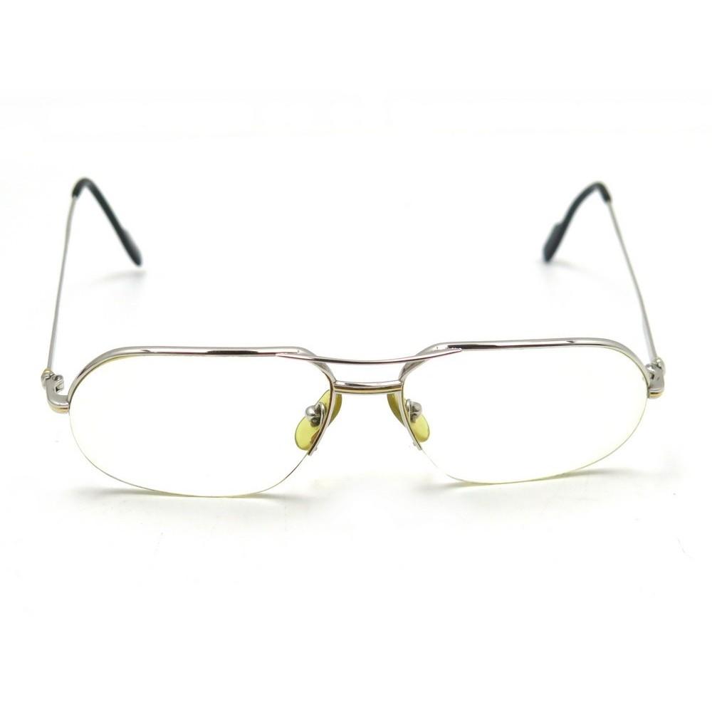 17b6f57810 monture de lunettes cartier 140 en metal argente mixte