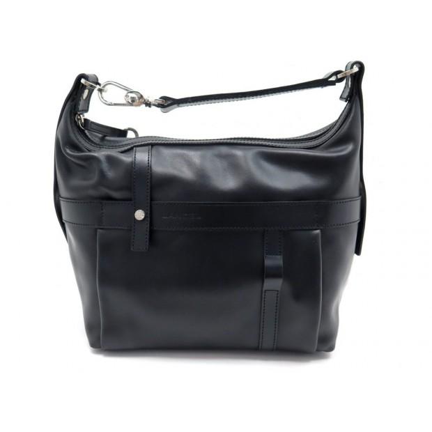 SAC A MAIN LANCEL 34 CM EN CUIR NOIR BLACK LEATHER HAND BAG PURSE DUSTBAG 500€