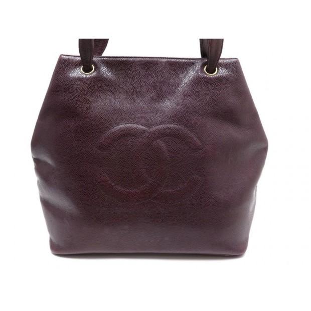 d69707add sac a main chanel cabas en cuir caviar bordeaux logo