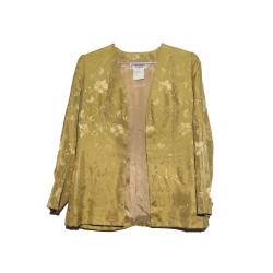 VESTE YVES SAINT LAURENT T 38 SOIE JAUNE MOTIF FLEURS YELLOW SILK JACKET 1890€