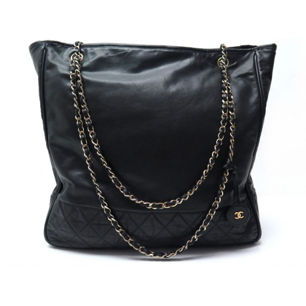 48f97827c0f sac a main chanel grand cabas shopping en cuir noir