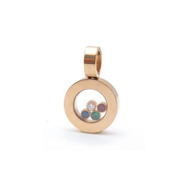 PENDENTIF CHOPARD HAPPY DIAMOND 4 PIERRES DIAMANT RUBIS EMERAUDE SAPHIR PENDANT