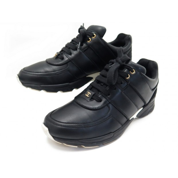 CHAUSSURES CHANEL CC TRAINER SNEAKERS G31711 BASKETS 40.5 CUIR NOIR SHOES 870€