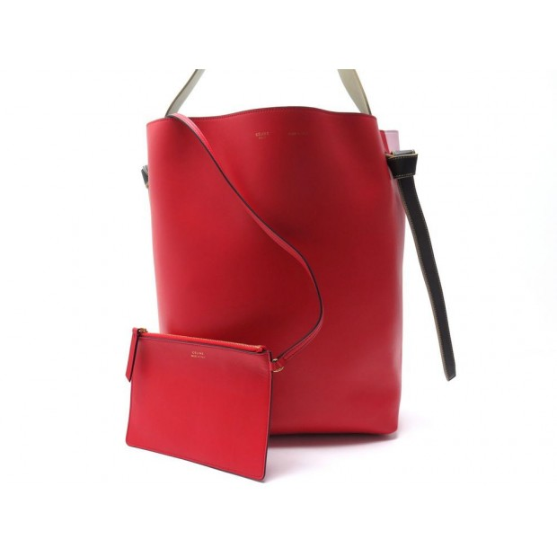 NEUF SAC A MAIN CELINE TWISTED CABAS PM 177053 CUIR ROUGE ET ROSE HAND BAG 1600€