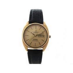 VINTAGE MONTRE OMEGA CONSTELLATION DAY DATE 36 MM AUTOMATIQUE PLAQUE OR ET CUIR