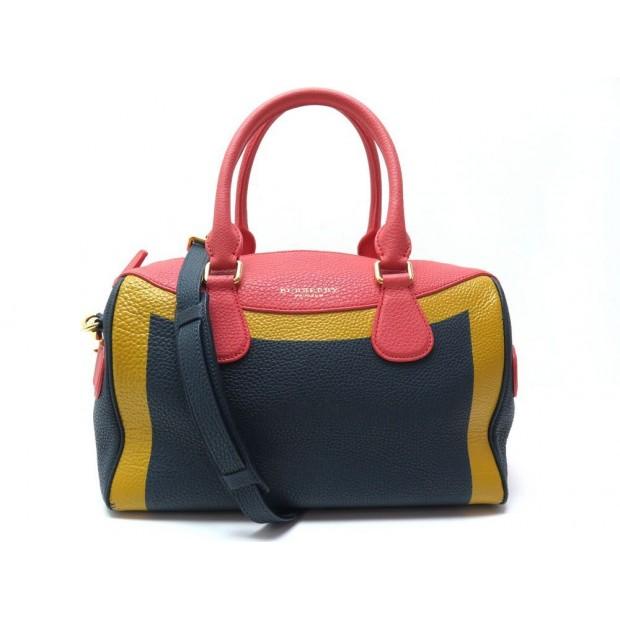 SAC A MAIN BURBERRY EN CUIR GRAINE TRICOLORE BANDOULIERE HAND BAG PURSE 1180€