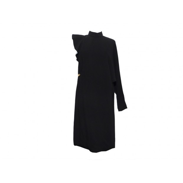 NEUF ROBE DE SOIREE MI LONGUE GIVENCHY 40 M SOIE NOIR EVENING SILK DRESS 1390€