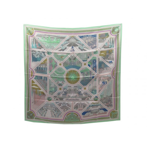 NEUF FOULARD HERMES FLANERIE A VERSAILLES CARRE 90 SOIE MULTICOLORE SCARF 370€