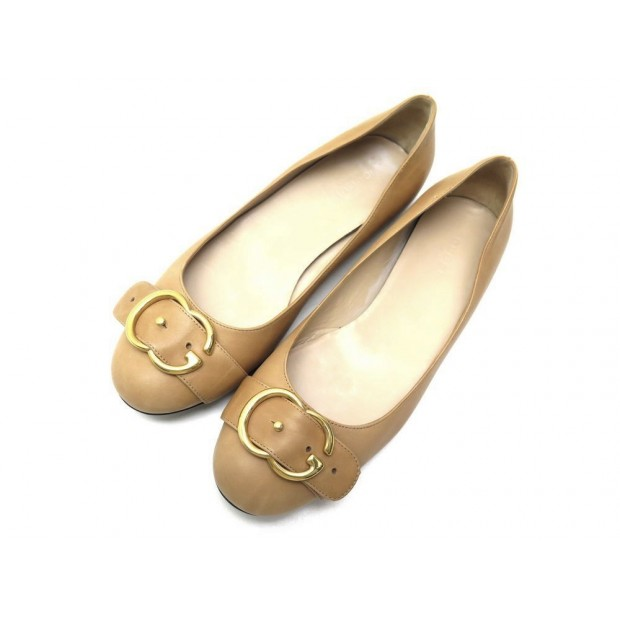 CHAUSSURES GUCCI 428565 BALLERINES 38 IT 38.5 FR CUIR CAMEL BALLERINA SHOES 750€
