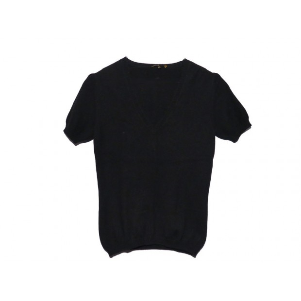 PULL A MANCHES COURTES LORO PIANA TAILLE 40 IT 36 FR CACHEMIRE NOIR SWEATER 980€