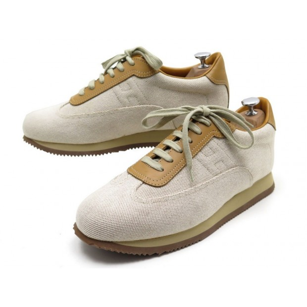 NEUF CHAUSSURES HERMES BASKETS QUICK H 43 TOILE BEIGE CUIR MARRON SNEAKERS 650€