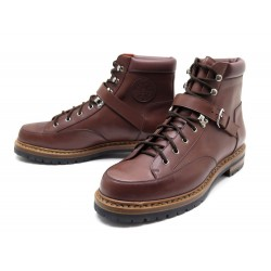 NEUF CHAUSSURES HERMES 43 BOTTILLONS A SANGLES CUIR MARRON HICKING BOOTS 1170€