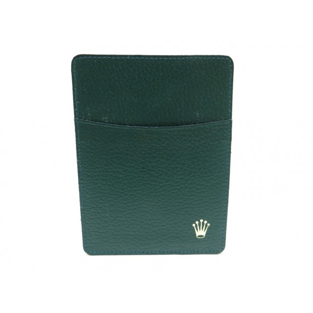 PORTE CARTES ROLEX 101.40.55 DOCUMENT POUR MONTRE EN CUIR VERT CARDS HOLDER