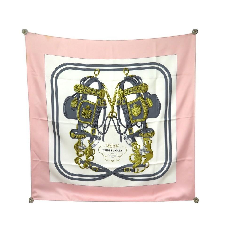 e94e2185443 FOULARD HERMES BRIDES DE GALA GRYGKAR CARRE EN SOIE ROSE PINK SILK SCARF.  Loading zoom