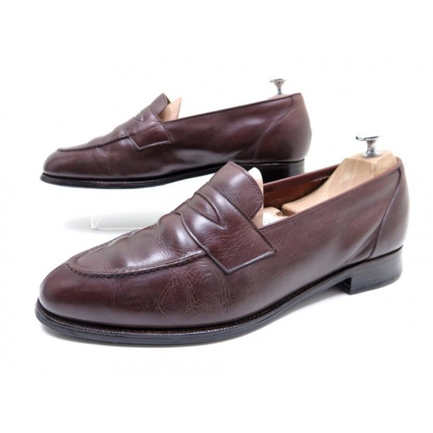 CHAUSSURES CHURCH'S PR BARDELLI 9.5F 43 MOCASSINS CUIR MARRON LOAFERS SHOES 600€