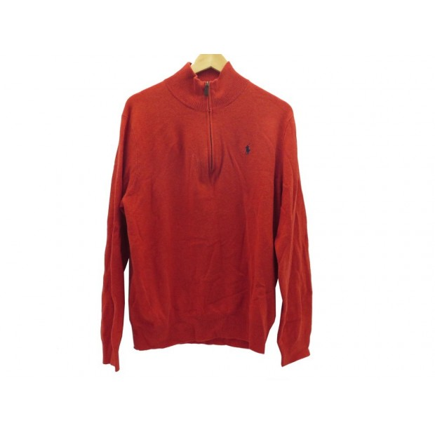 NEUF PULL RALPH LAUREN POLO COL ZIP TAILLE L 52 LAINE ORANGE WOOL SWEATER 169€