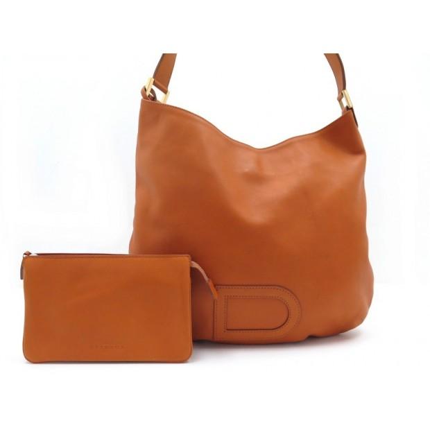 SAC A MAIN DELVAUX D EPAULE + PORTE MONNAIE EN CUIR ORANGE HAND BAG WALLET 1500€