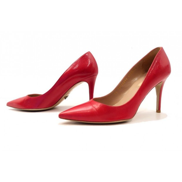 CHAUSSURES VALENTINO ESCARPINS CUIR ROUGE 37 BOITE RED LEATHER COURT SHOES 510€