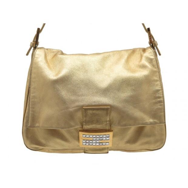 SAC A MAIN FENDI MAMMA BAGUETTE 26325 EN CUIR DORE STRASS GOLDEN BAG PURSE 1800€