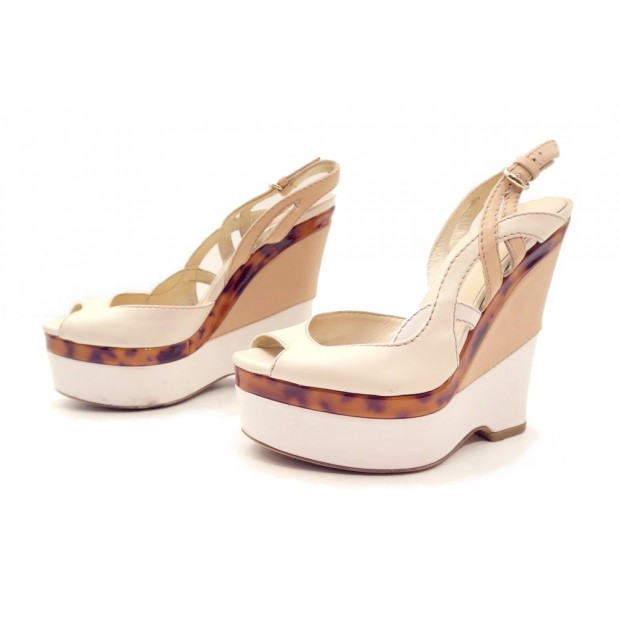CHAUSSURES GUCCI 215813 SANDALES COMPENSEES 36.5 IT 37 CUIR BLANC SAC SHOES 600€