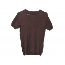 NEUF PULL LORO PIANA MANCHES COURTES 40 IT 36 FR S CACHEMIRE MARRON TOP 980€