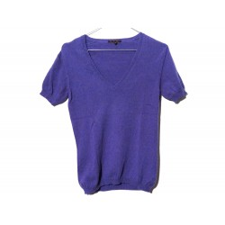 PULL LORO PIANA MANCHES COURTES COL V 40 IT 36 FR S EN CACHEMIRE VIOLET TOP 980€