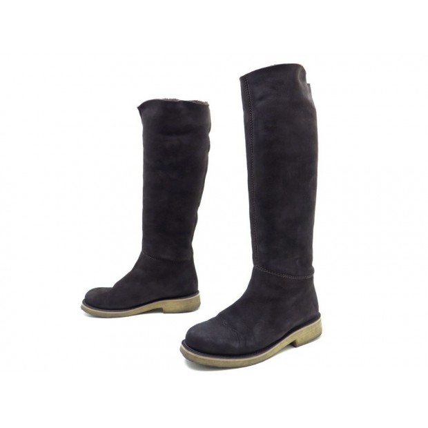 CHAUSSURES BOTTES HERMES DAIM FOURREES 37