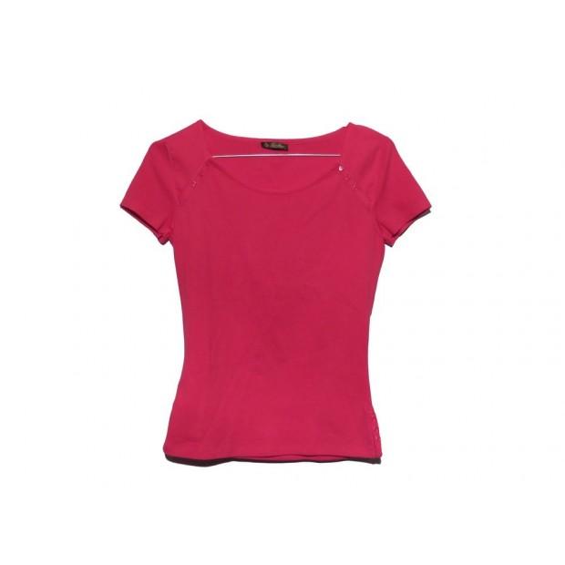 T SHIRT LORO PIANA TAILLE 40 IT 36 FR S EN SOIE & ELASTHANE ROSE PINK TOP 790€