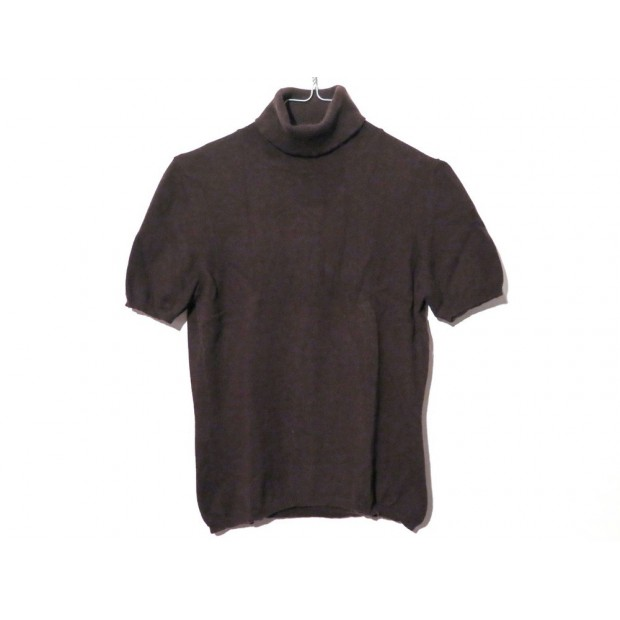 NEUF PULL MALO A MANCHES COURTES COL ROULE 42IT 38FR M CACHEMIRE MARRON TOP 275€