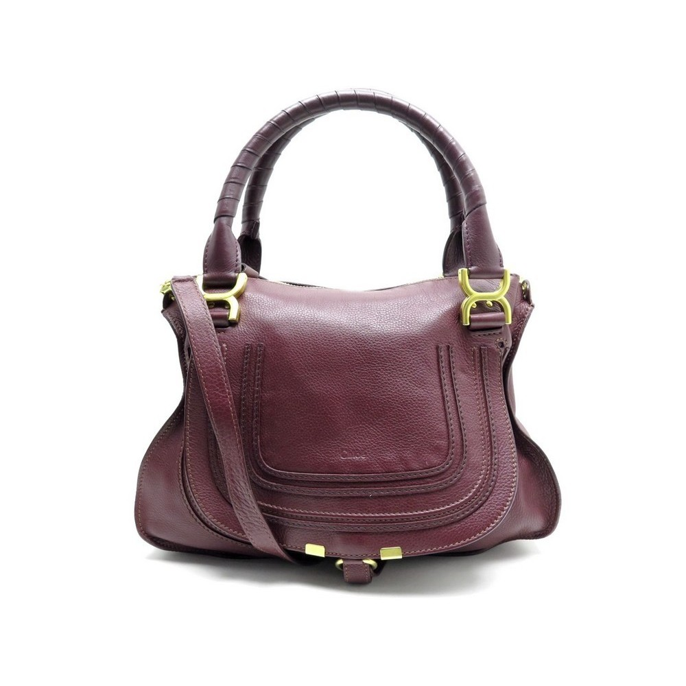 f9115153c8 SAC A MAIN CHLOE MARCIE MM BANDOULIERE EN CUIR GRAINE BORDEAUX HAND BAG  1550€. Loading zoom