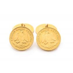 BOUTONS DE MANCHETTES EN OR JAUNE 22K 1920 PESOS MEXICAINS YELLOW GOLD CUFFLINK