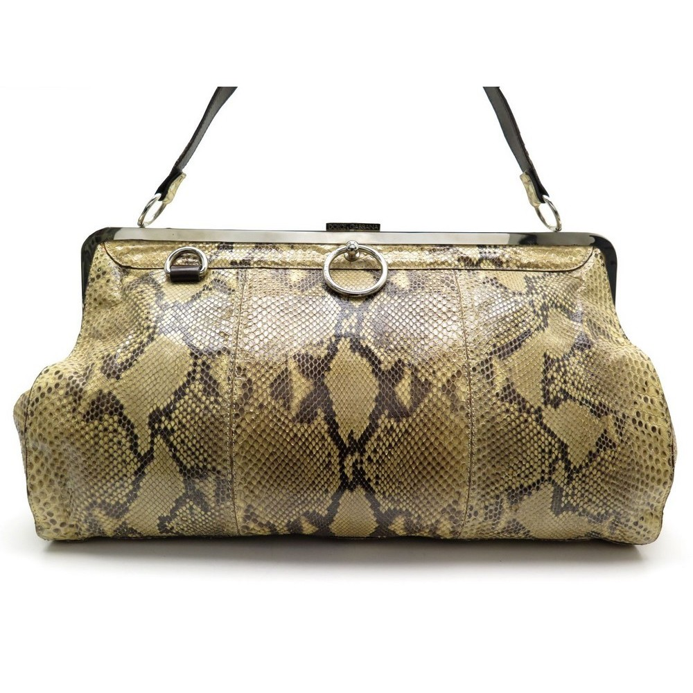 155216ff51 SAC A MAIN DOLCE AND GABBANA 41CM EN PYTHON BEIGE EXOTIC LEATHER HAND BAG  PURSE. Loading zoom