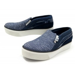 CHAUSSURES LOUIS VUITTON CATWALK 36.5 BASKETS CUIR & TOILE BLEU SNEAKERS 610€