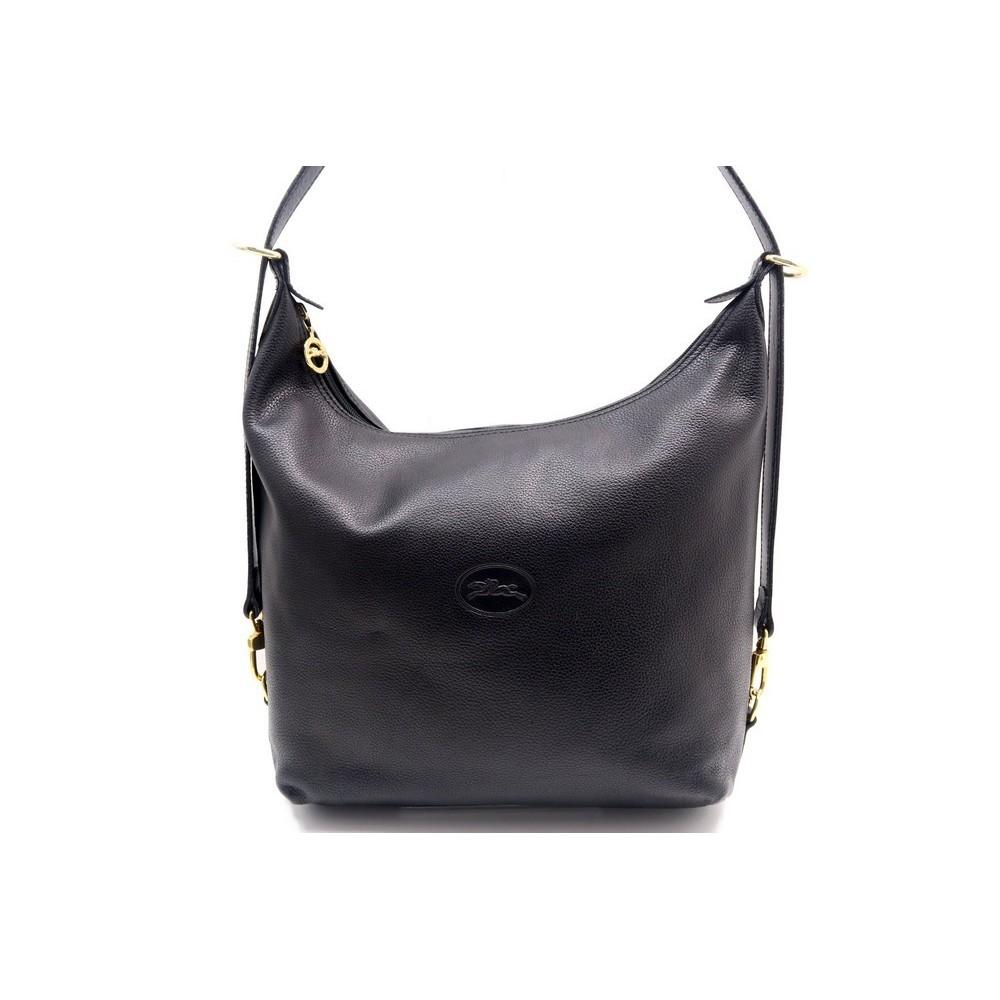 sac a main longchamp 30 cm porte epaule en cuir noir
