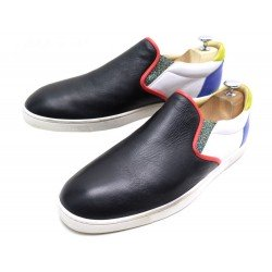 CHAUSSURES CHRISTIAN LOUBOUTIN BASKETS 43.5 CUIR NOIR SNEAKERS SLIPPERS 645€