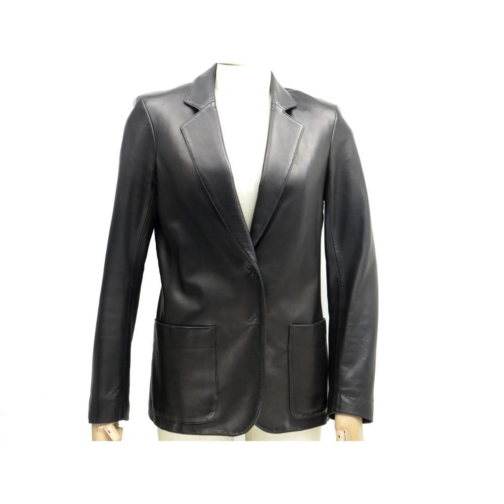 veste cintree joseph m 38 40 en cuir noir manteau. Black Bedroom Furniture Sets. Home Design Ideas