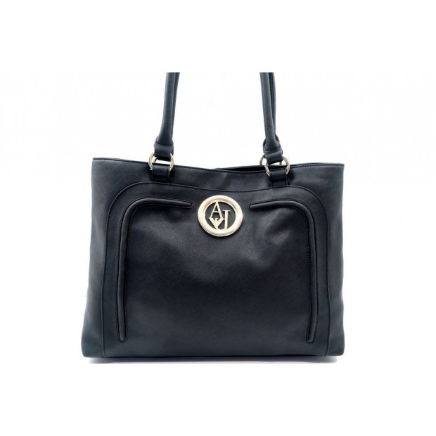 sac a main armani jeans 291a3 cabas en cuir noir black f9deaa25989