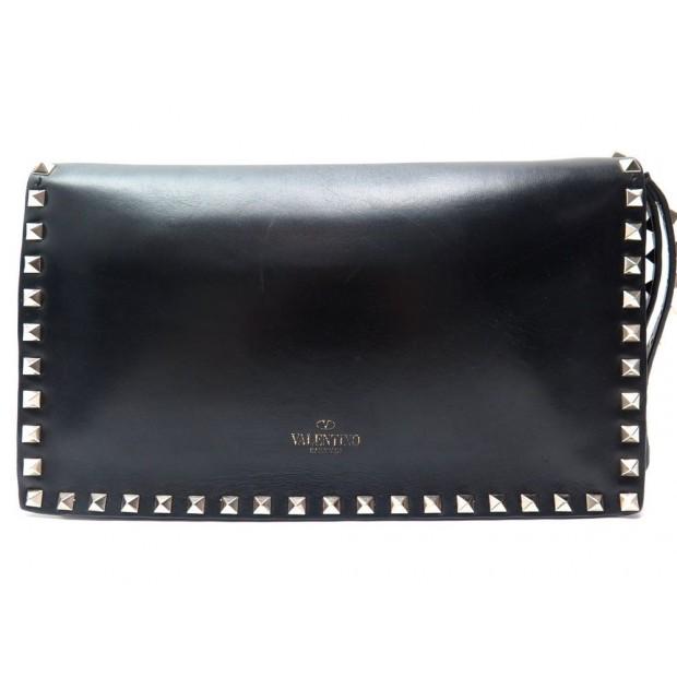 design de qualité c6505 ae42e sac a main valentino pochette rockstud en cuir noir