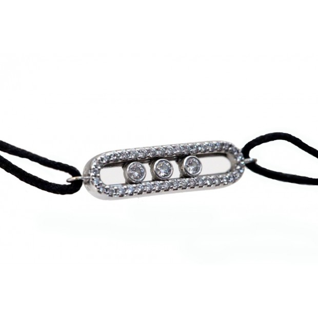 BRACELET MESSIKA MINI MOVE CORDON EN OR BLANC 18K ET DIAMANT BIJOUX GOLD 2500€