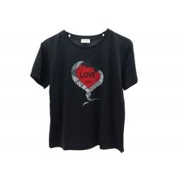 NEUF T SHIRT SAINT LAURENT LOVE 1974 497236 T S 36 EN COTON NOIR BLACK TOP 260€