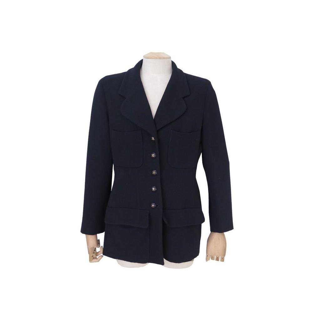 Veste blazer longue bleu