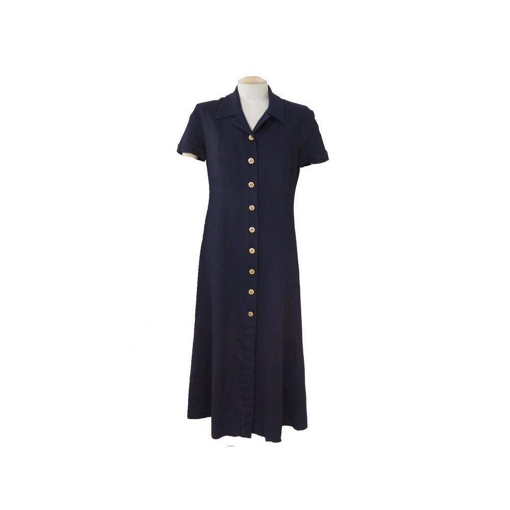 Robe Longue Chanel T 40 M Bleu Marine Boutonnee