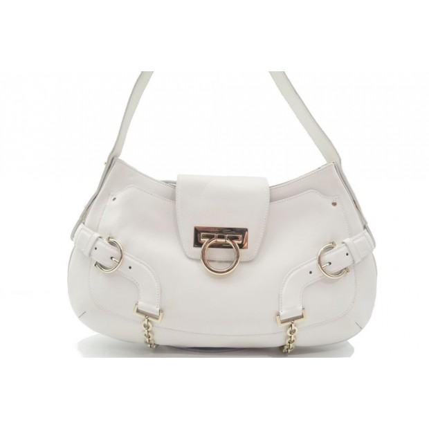 SAC A MAIN SALVATORE FERRAGAMO AU-21 5356 EN CUIR BLANC LEATHER HAND BAG 1000€