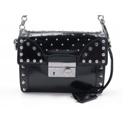 SAC A MAIN PRADA BT0727 CUIR VERNI NOIR A CLOUS BLACK PATENT LEATHER PURSE 1420€