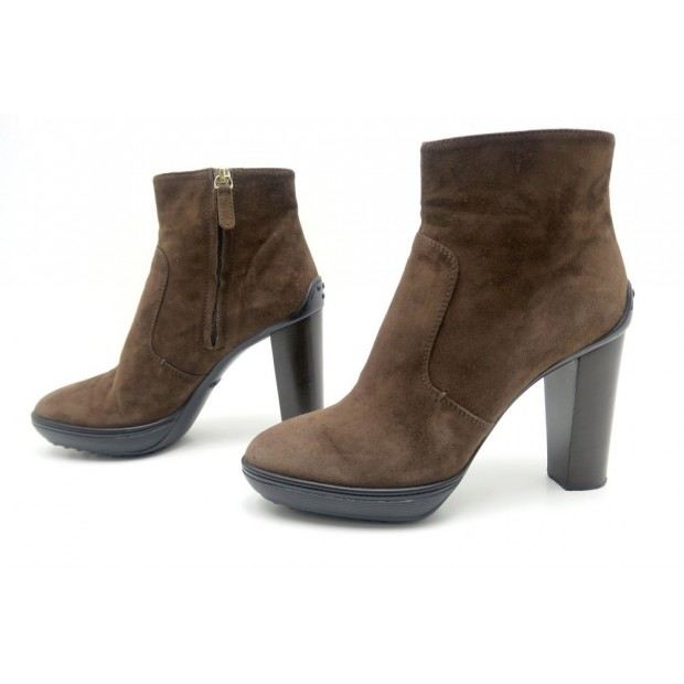 CHAUSSURES TOD'S 38 IT 38.5 BOTTINES A TALONS DAIM MARRON BOTTILLONS BOOTS 598€