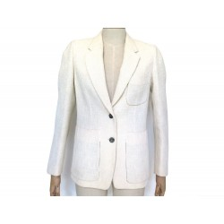 VESTE YVES SAINT LAURENT 2 BOUTONS 36 S COTON & LAINE ECRU COTTON JACKET 1890€