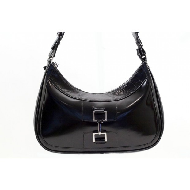 SAC A MAIN GUCCI JACKIE 001-4254 EN CUIR VERNI NOIR LEATHER HAND BAG 1150€